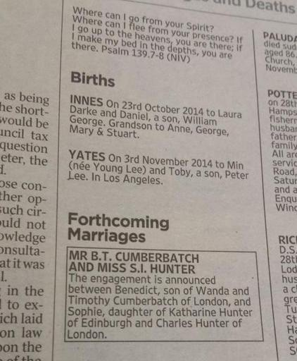 """""""卷福""""本尼迪克特·康伯巴奇订婚了 父母依传统《泰晤士报》登广告"""