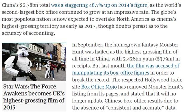 权威票房网站Box Office Mojo不承认《捉妖记》票房 将停止更新中国票房