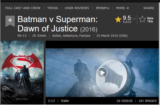 《蝙蝠侠大战超人:正义黎明》纽约首映后压倒好评 IMDB评分高达9.5