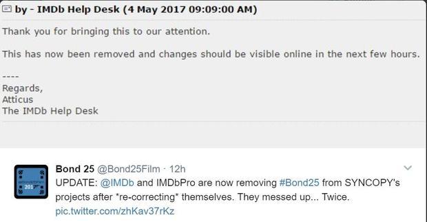 粉丝账号与IMDb的前后两次交涉