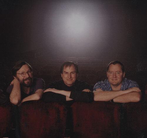 皮克斯三位创始人:艾德·卡姆尔、乔布斯、约翰·拉塞特