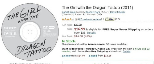 正版过于原生态,《龙纹身女孩》DVD被疑是盗版