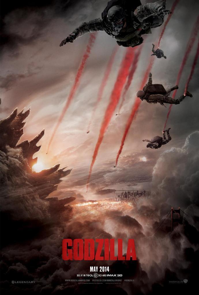 """《哥斯拉》(Godzilla)新海报预告首发 怪兽之王重生""""老白""""等群星亮相"""