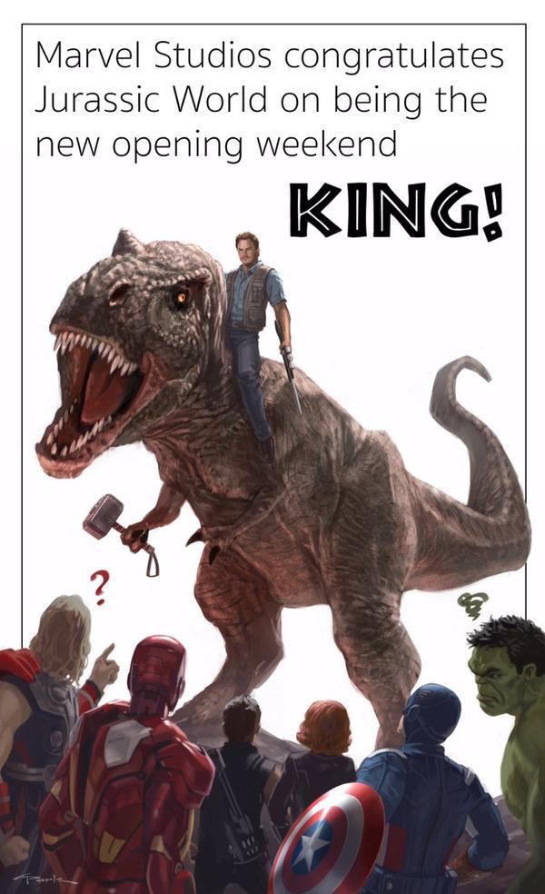 漫威发图祝贺《侏罗纪世界》(Jurassic World)破首映票房纪录