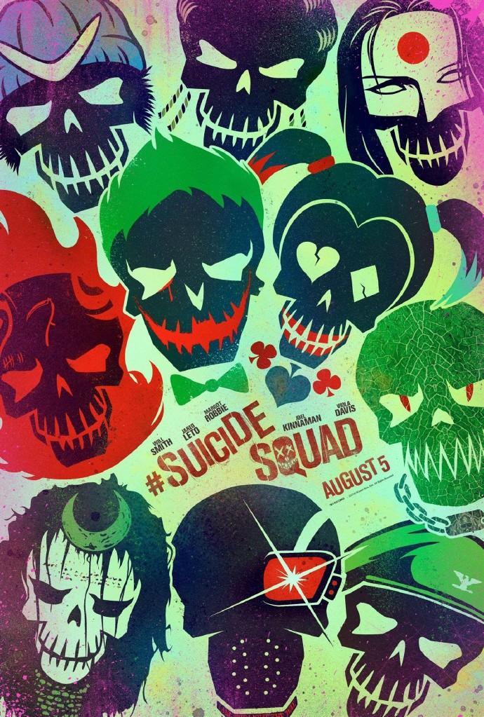 《自杀小队》(Suicide Squad)首组海报邪魅抢眼 恶棍英雄混搭死神面孔