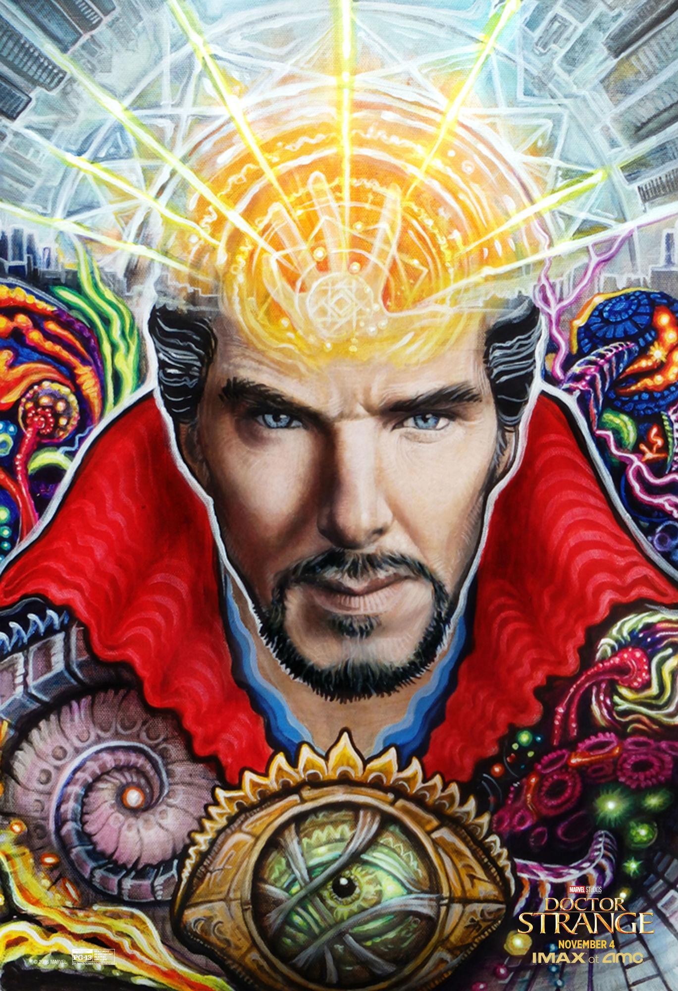 """《奇异博士》(Doctor Strange)曝迷幻黑光海报 """"卷福""""大开天眼"""
