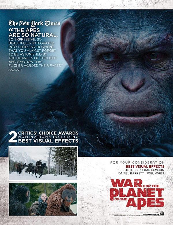 《猩球崛起3》横扫第16届视觉效果协会奖