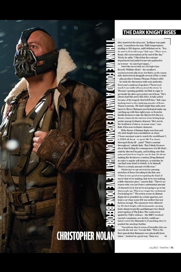 《Total Film》发布《黑暗骑士崛起》(The Dark Knight Rises)全新剧照