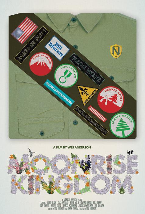 《月亮升起之王国》(Moonrise Kingdom)发布极简海报