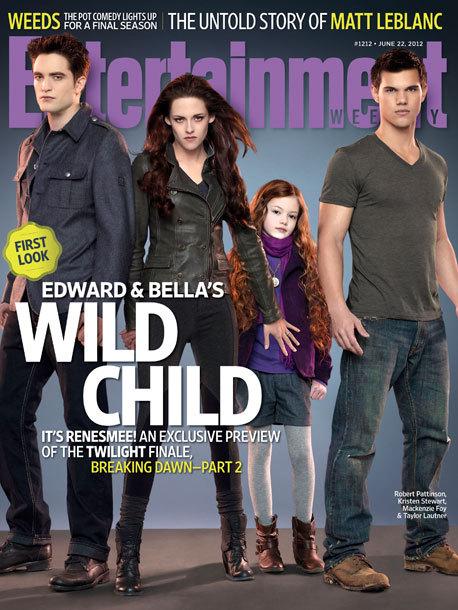 《暮光之城》贝拉、爱德华、女儿、女婿一家四口登上EW封面