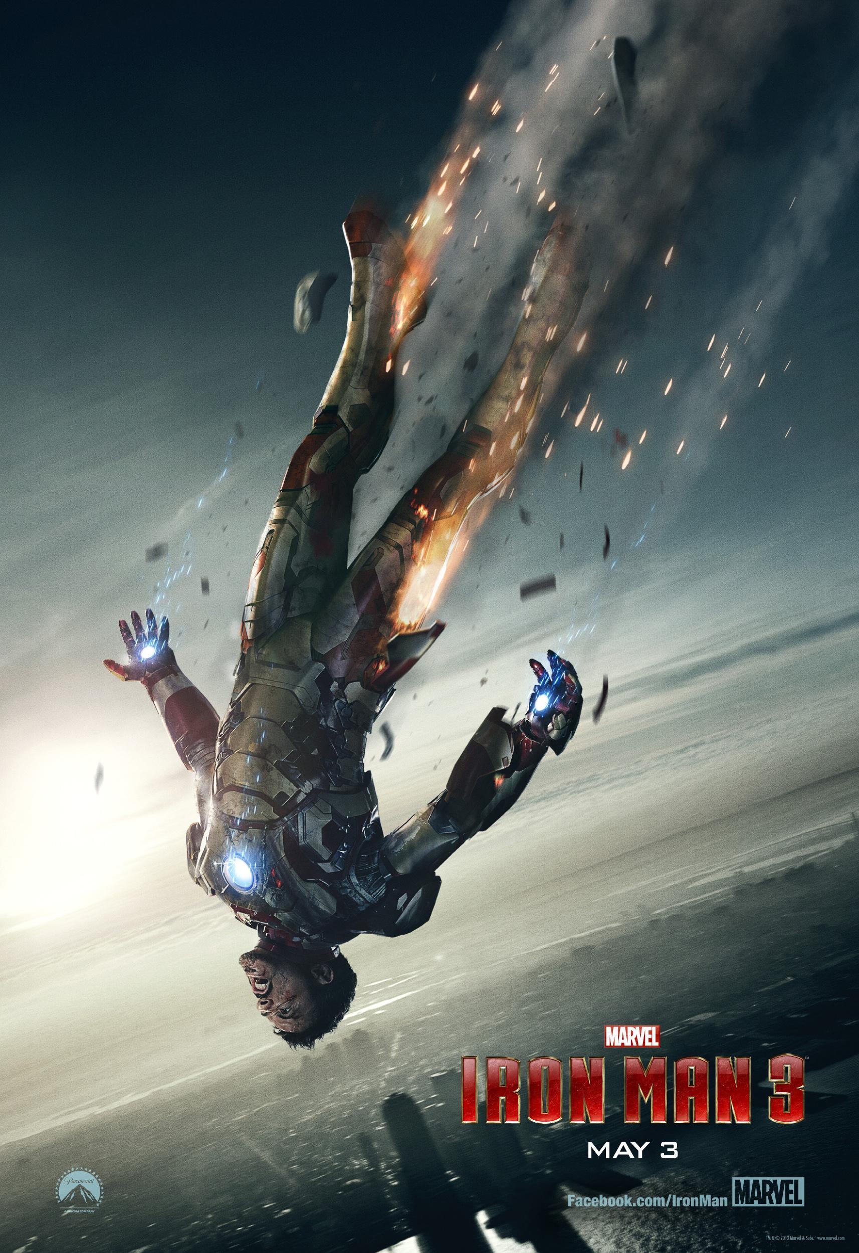 《钢铁侠3》(Iron Man 3)发布新款海报 唐尼碎甲高空坠落