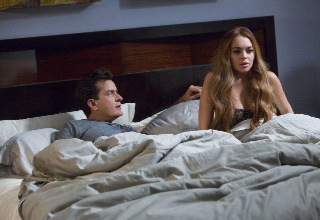 《惊声尖笑5》新曝海报预告 查理·辛与琳赛·洛翰同床共眠