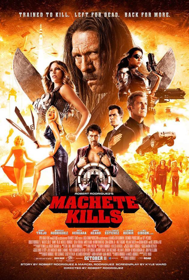 """《弯刀杀戮》(Machete Kills)海报新照 """"疤面煞星""""特乔携众辣妹登场"""