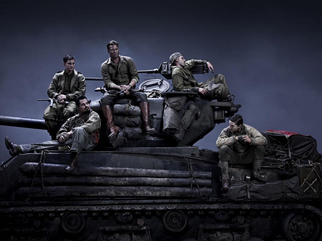 布拉德·皮特二战坦克兵电影《暴怒》(Fury)集体定装照