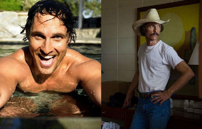 马修·麦康纳要在片中出演一名艾滋病患者,减重减重30磅(13.6公斤),这也让他被媒体称为皮包骨选手,也赢得今年奥斯卡影帝。