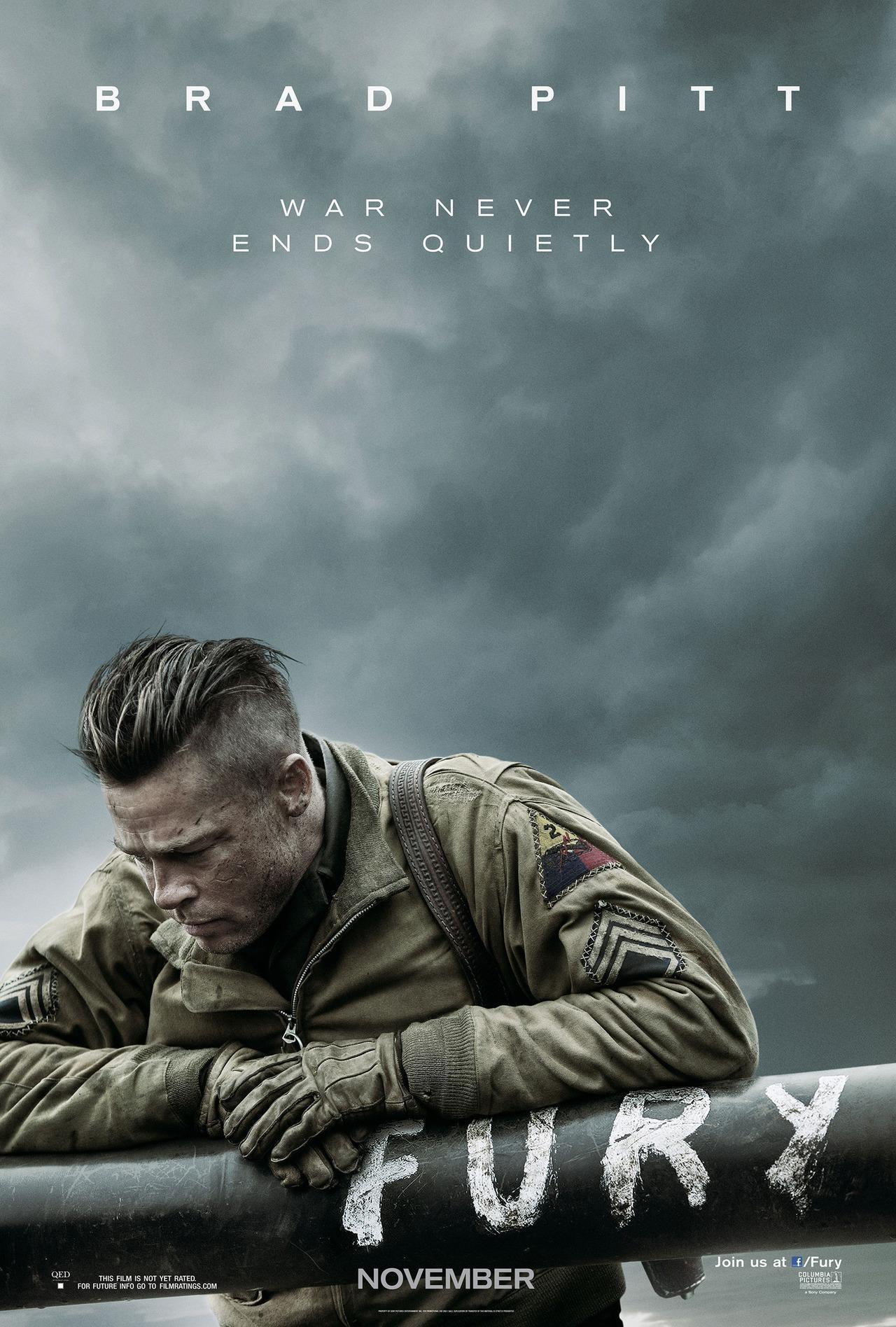 """皮特新片《狂怒》(Fury)曝首款海报 坦克小分队将执行""""死亡任务"""""""