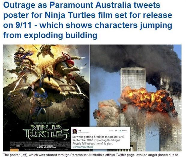 """真人版《忍者神龟》海报惹争议 海报设计让人联想""""911事件"""""""