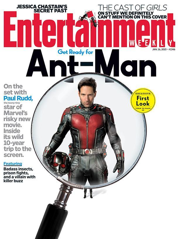 """《娱乐周刊》封面用放大镜帮我们看清了海报上的""""蚁人""""造型"""