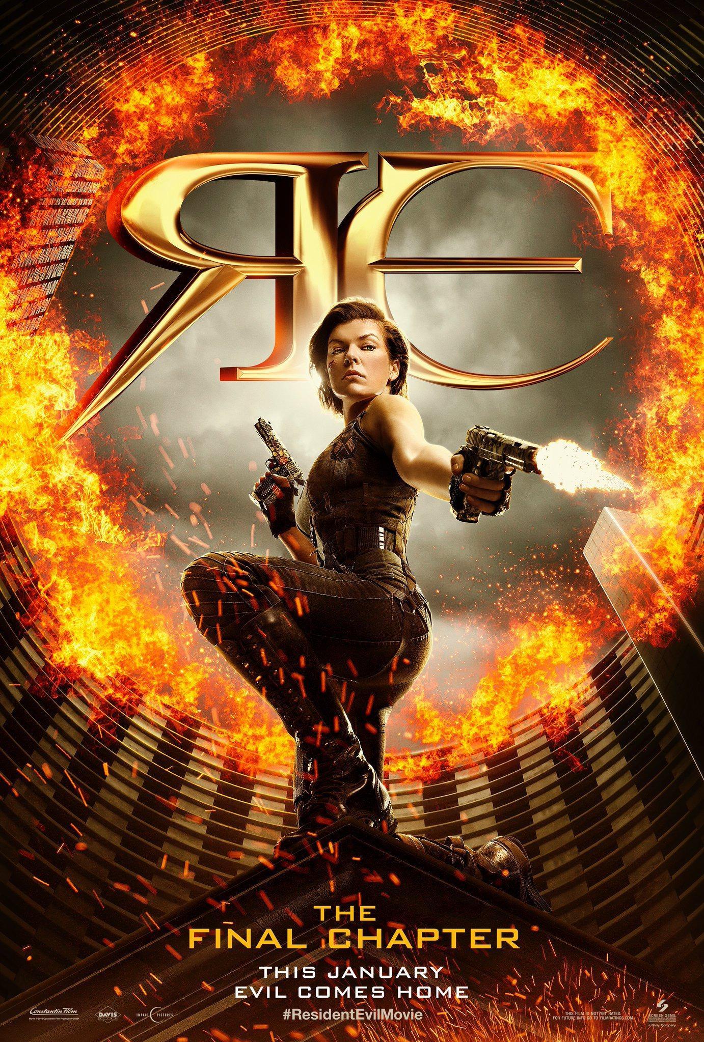 《生化危机:终章》(Resident Evil: The Final Chapter)曝首款海报 女战神持枪灭敌