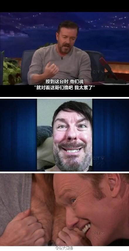 主持金球奖的英国著名笑星Ricky Gervais做客Conan秀 2012.01.12